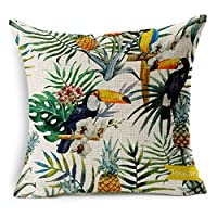 "Cotton Linen Square Decorative Throw Pillow Case Cushion Cover Plants and toucan 18 ""X18 ""inches from decorbox"