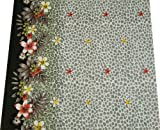 45″ Wd Black Fabric Cotton Voile Leopard Floral Print Sew Drape By the Yard