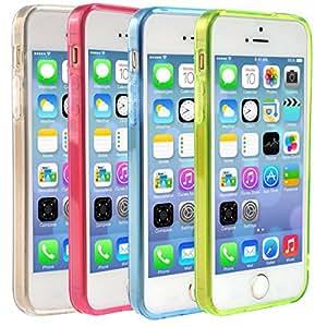 Souple mat TPU couverture de cas 5 Portefeuille Housse de protection Case Etui Coque pour iPhone 5 5S 4 Pcs / Set (Rosy + bleu + vert + transparent) (style 1) (Sytle 1)
