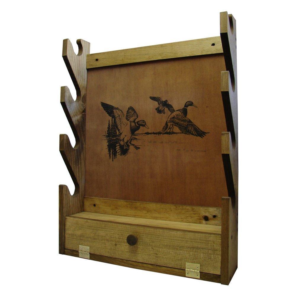 New Nice Wooden Wall Gun Rack Display Storage 4 Racks Pine