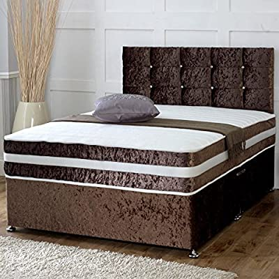 Hf4you Cube Crushed Velvet Memory Sprung Divan Bed Set -