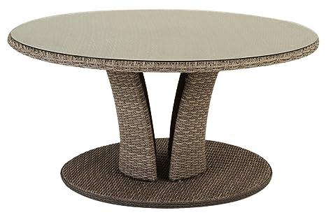 Table à manger ronde en aluminium et vert trempé - Dim : D.160 x H.76 cm -PEGANE-