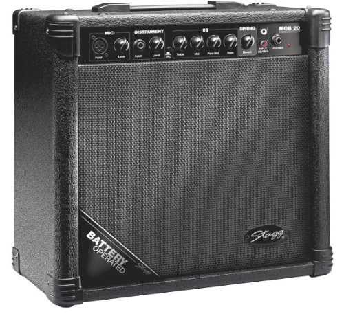 Stagg Mob20 Usa 20 Watt Rms Battery Operated Acoustic Guitar Amplifier With Spring Reverb