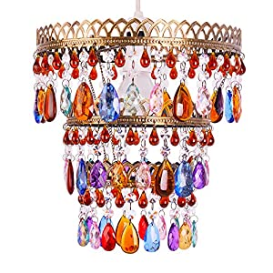 Beautiful Designer Five Tier Brassed Effect Gypsy Style Coloured Acrylic Jewel Droplets Ceiling Pendant Light Shade