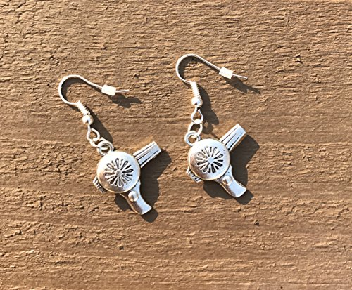 silver-tone-miniature-hair-dryer-charm-earrings-on-silver-tone-french-wire-handmade-blow-dryer-styli