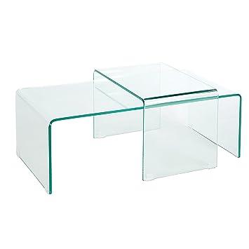 Hochwertiges 2er Set Glas Couchtisch GHOST transparent Glastisch Satztische Tische Glas Wohnzimmertisch