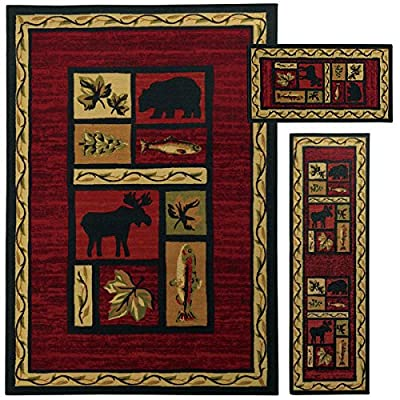 3 Piece Wildlife Bear Moose Fish Area Rug Set with Runner, Hunting Themed Floor Mat, Rustic Lodge Cottage Carpet Pattern, Southwestern Style Cabin Design, Wild Game, Red Brown Tan