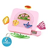 Carykon Roll Quiller's Grid Guide Quilling Board with Pins Storage for Paper Crafting Winder Roll Square Craft DIY Tool (Pink) (Color: Pink)