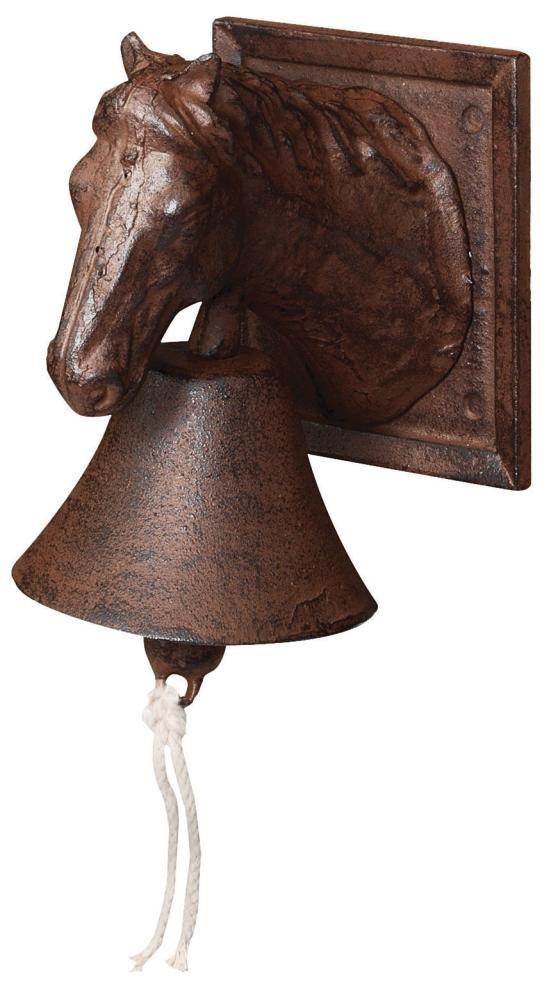 3 Stück Esschert Design Türglocke mit Klöppel, Türklingel mit Motiv Pferd aus rötlichem Gusseisen, ca. 12 cm x 17 cm x 19 cm    Kritiken und weitere Informationen