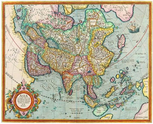 12X14 inch Rare Antique Map Canvas Asia Map