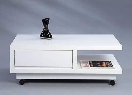 Dreams4Home Couchtisch 'Elba' - Tisch, Sofatisch, Beistelltisch, Ablagetisch, Abmessungen: 100 x 38 x 60 cm, mit 1 Schublade, rollbar, Wohnzimmer, Gästezimmer, Wintergarten, Ablageplatte, MDF, in Hochglanz weiß