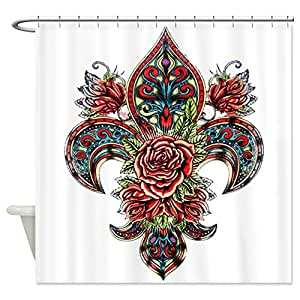 Shower curtain floral fleur de lis - Fleur de lis shower curtains ...
