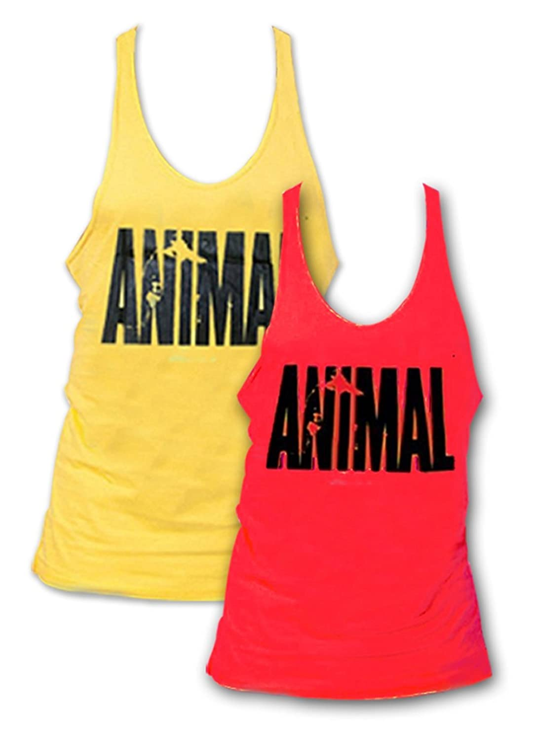 Pack of 2 Mens Animal Letter Print Muscle Gym Stringer Tank Top for Bodybuilding