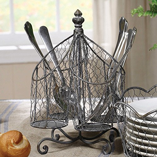 Kitchen Supply Utensil Cutlery Organizer, Holds Napkins, Forks, Spoons, Spatula, Vintage Style [Caddy] Silverware Holder for Kitchen Countertop Storage, Centerpiece (Countertop Spatula Holder compare prices)