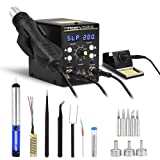 2 in 1 Rework Soldering Station Kit with Heating Core Replacement,Digital Display Solder-Iron and Hot Air Desoldering-Gun Welding LCD SMD Rework Station,700W 480? (Color: Black)