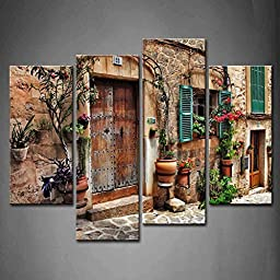 Modern Home Decoration painting 4 Panel Wall Art Streets Of Old Mediterranean Towns Flower Door Windows The Picture Print On Canvas Architecture Pictures piece