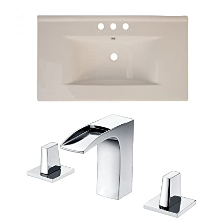 "Jade Bath JB-15648 36"" W x 20"" D Ceramic Top Set with 8"" o.c. CUPC Faucet, Biscuit"