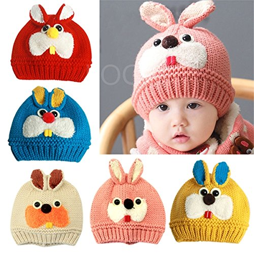 Enjoydeal Fashion Baby Kids Super Cute Rabbit Pattern Cap Winter Soft Woolen Knitted Hat
