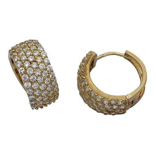 Adara 9 ct Gold Cubic Zirconia Cluster Earrings