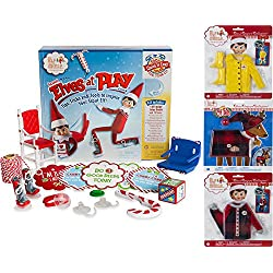 Elf On The Shelf Gift Set - Elves At Play 15 Piece Tool Set With Claus Couture Clothing Set: Fa-La-La Footies Pajamas, Fa-La-La Reindeer Pajamas and Yellow Raincoat