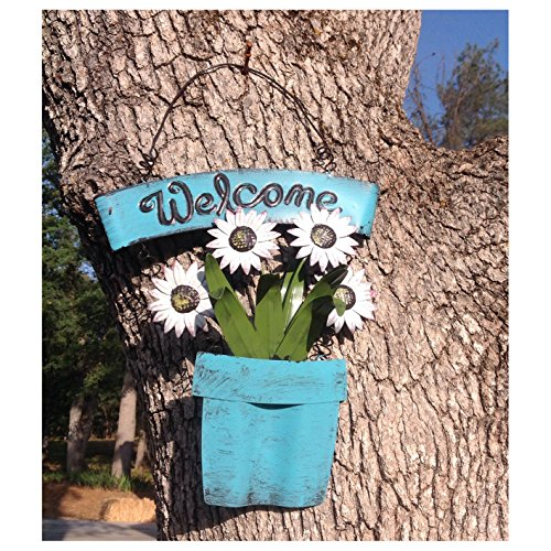 Holiday Big Sale! Decorative Metal Shabby Chic Welcome Sign with White Daisies in Blue Planter