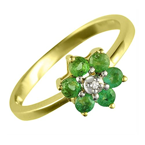 Ivy Gems 9ct Yellow Gold Emerald and Diamond Cluster Ring