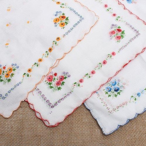 CANIS 12pcs/Set Lot Ladies Women Vintage Cotton Quadrate Hankies Floral Handkerchief 3