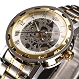 ALPS Men's Classic Style Skeleton Stainless Steel Quartz Watch with Link Bracelet
