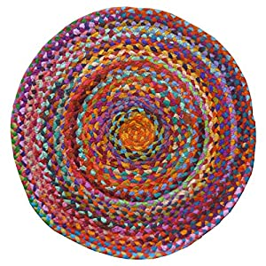 Fair Trade Braided Round Chindi Recycled Cotton Rag Rugs from Indian Arts