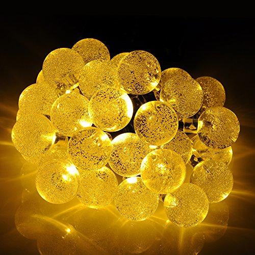 Patuoxun Solare all'Aperto Luci Della Stringa di 20 FT, Catena di 30 luci LED Bianco Sfera di Cristallo Alimentata Solare Globe Natalizia per la Decorazione del Giardino di Paesaggio Recinto del Percorso
