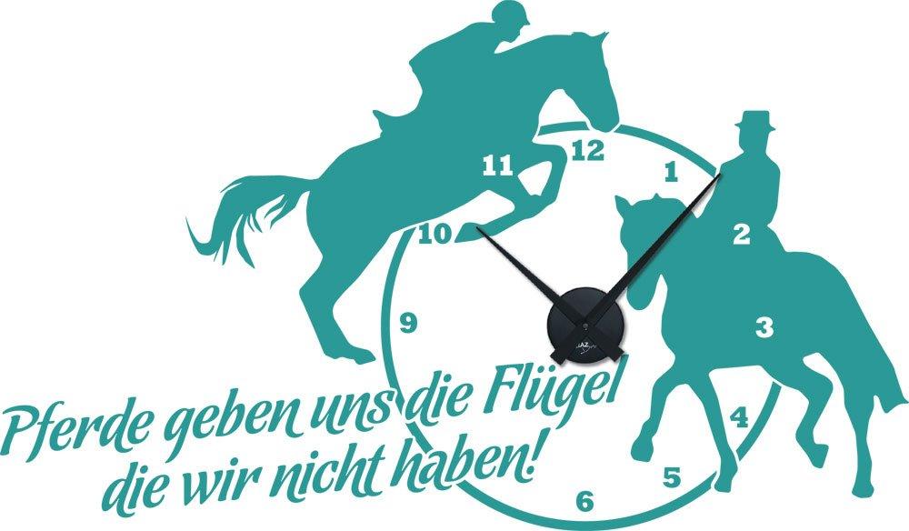 Wandtattoo Uhr mit Uhrwerk Wanduhr Sport Reitsport Zitat Pferd Kinder (Farbe=054 türkis / Uhrwerk=Schwarz) online kaufen
