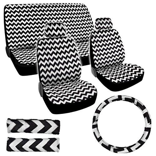 Bdk Usa Line Design (Zigzag) 11 Pc Seat Cover Set (White)