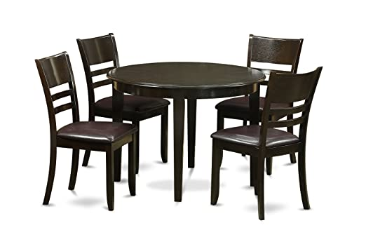 East West Furniture BOLY5-CAP-LC 5-Piece Kitchen Table Set, Small, Cappuccino Finish