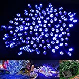 LE Solar Fairy String Lights 100 LEDs 49ft 15m, Waterproof, Blue, Christmas Lights with Light Sensor, Outdoor and Indoor Use, Wedding, Party, Halloween Lights Decoration