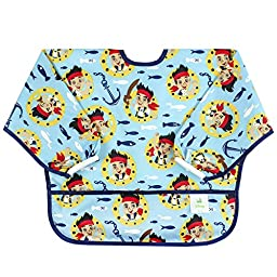 Bumkins Disney Baby Waterproof Sleeved Bib, Jake & The Neverland Pirates Blue (6-24 Months)