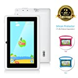 7 Inch Kids Tablet PC Android Quad Core 1024×600 IPS Eye Protection Display 1+8GB Storage Learning Tablet with WiFi Bluetooth Dual Camera Parental Control (Color: White)