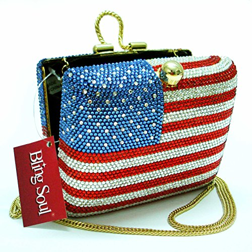 American Flag Clutch Bag - Usa Design Evening Purse With Swarovski Crystals