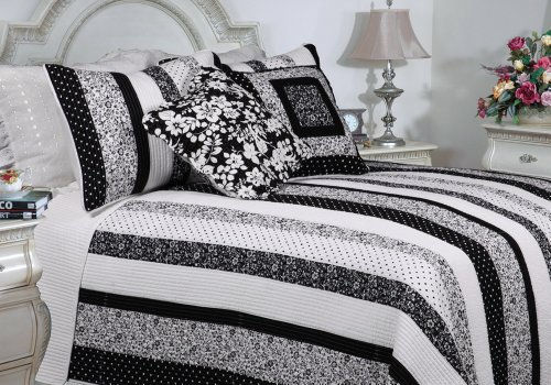 [Polka Dot & Allover] 100% Cotton 3PC Classic Floral Vermicelli-Quilted Quilt Set (Twin Size)