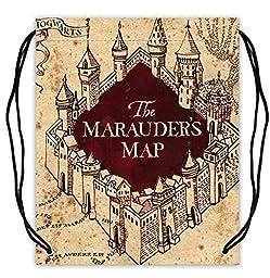 Polyester Fabric Basketball Drawstring Bags Harry Potter & Hogwarts Collections Marauder\'s Map Drawstring Tote