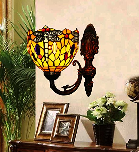 Good  Style Red Stained Glass Dragonfly Wall Lamp Wall Fixture