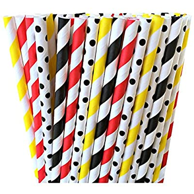 Red, Yellow, and Black Polka Dot and Striped Paper Straws -Mickey Mouse Fireman Dalmations Birthday Party Supply 100%Biodegradable 7.75 Inches Pack of 100