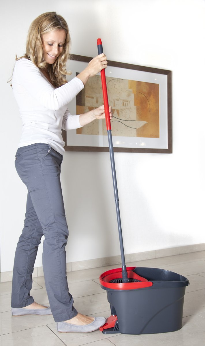 vileda easy wring and clean microfibre mop and bucket with power spin wringer ebay. Black Bedroom Furniture Sets. Home Design Ideas