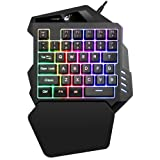 FELICON One Handed Mechanical Feel Gaming Keyboard Rainbow Backlight 5 Multimedia Function Key Portable Mini Single Gamer Keypad with Wrist Rest for Computer/PC/Desktop/Laptop