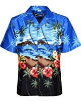 Mens Hawaiian Shirts Short Sleeves Beach Floral Printed Shirt