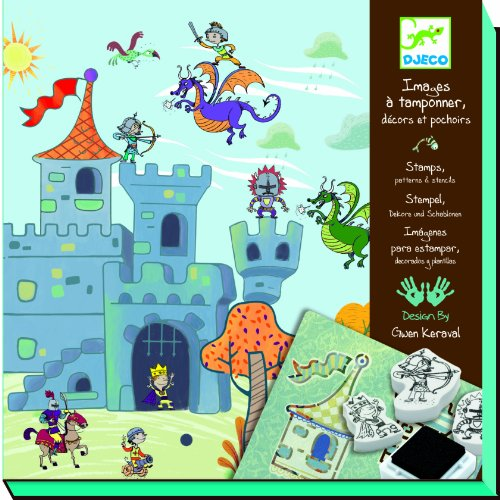 Djeco / Stamp and Stencil Kit, Knights and Castles