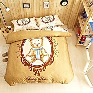 lt twin full queen size 4 pieces teddy bear. Black Bedroom Furniture Sets. Home Design Ideas