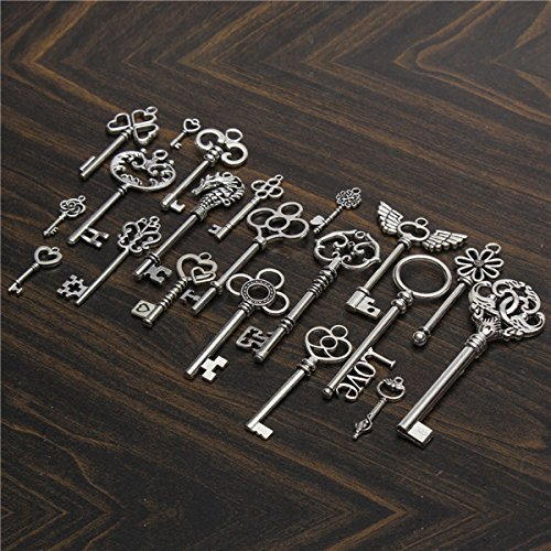 Yongse 20Pcs d'argento Skeleton Key cuore pendente bloccare Bow Steampunk Set