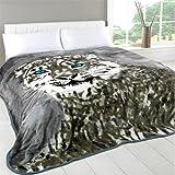 Dreamscene Animal Mink Faux Fur Throw, Snow Leopard, 150 x 200 Cm
