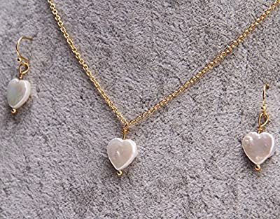 Oh My Lady * Gold - Plated Necklace with Rare Natural Heart - Shaped Baroque Pearls & Earrings Jewelry Set - Gift Boxed with Gift Card