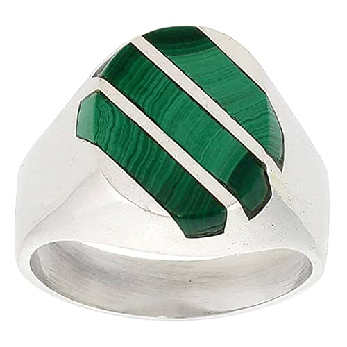 Gent's Sterling Silver Triple Diagonal Stripes Malachite Ring